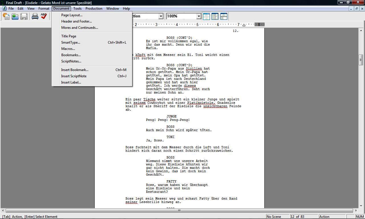 Final Draft Screenschot